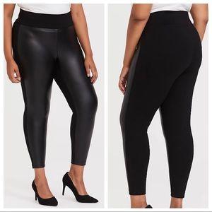 Torrid Faux Leather & Ponte Pixie Pant Black High Rise Tummy Control Plus Size 1